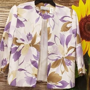 Alfred Dunner jacket  purple/ white floral Pre-own
